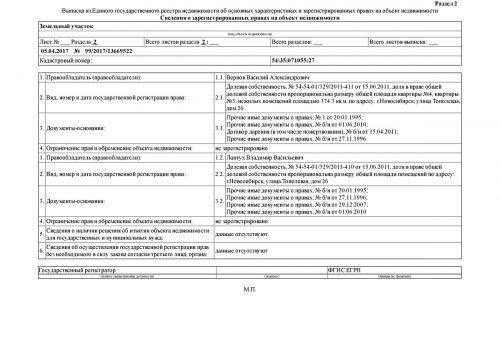 Выписка из ЕГРН об основных характеристиках и зарегистрированных правах на объект недвижимости